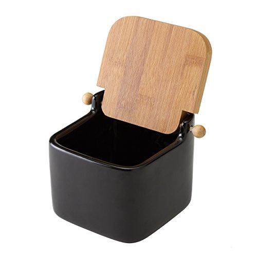 Home Line Salero Cuadrado de cerámica con Tapa de bambú, Negro, 12x12x11 cm