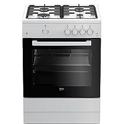 Beko FSG62010FW Cuisinière Cuisinière à gaz Blanc four et cuisinière - Fours et cuisinières (Cuisinière, Blanc, boutons, Rotatif, Devant, Cuisinière à gaz, acier émaillé)