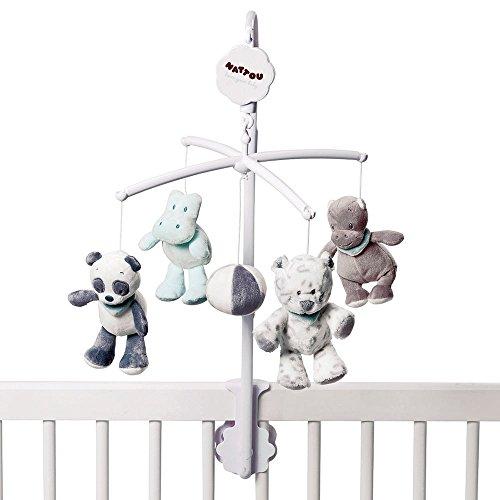Panda Mobile (Nattou Mobile mit Musik für Babybett, Mädchen und Jungen, grau - Loulou, Lea und Hippolyte)
