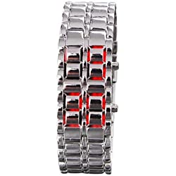 safeinu girl Red Light silver Metal Strap Lava Style Digital LED Watch