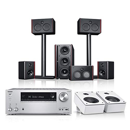 Teufel System 4 THX AVR für Dolby Atmos 5.1.2-Set Schwarz/Weiß/Silber Film Subwoofer Lautsprecher Movie Musik Raumklang Sound Heimkino DTS HD