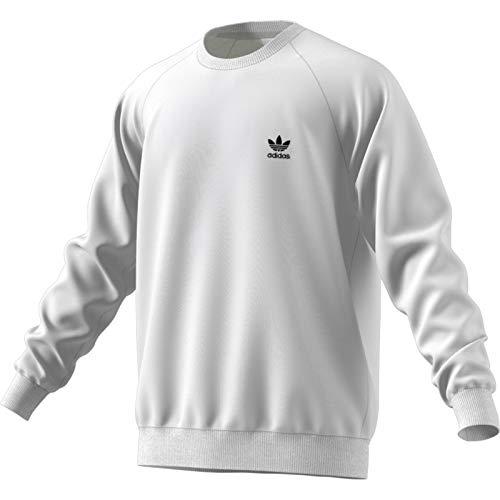 adidas Herren Essentials Crew Sweatshirt, White, S - Adidas Gerippter Pullover