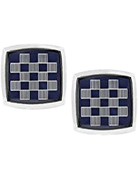 The Jewelbox Checks Blue Silver Rhodium Plated Square Brass Formal Cufflink Pair For Men
