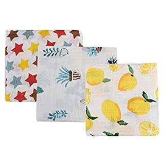 AOOPOOBaby Swaddle Blankets, Newborn Baby Double Layered Muslin Swaddle Blankets Infant Cotton Wrap Bedding Blankets 120 * 120CM (A-Lemon/Cactus/Stars)