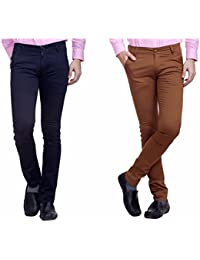 Nimegh Navy Blue and Maroon Color Cotton Casual Slim fit Trouser For Men's (Pack Of 2)