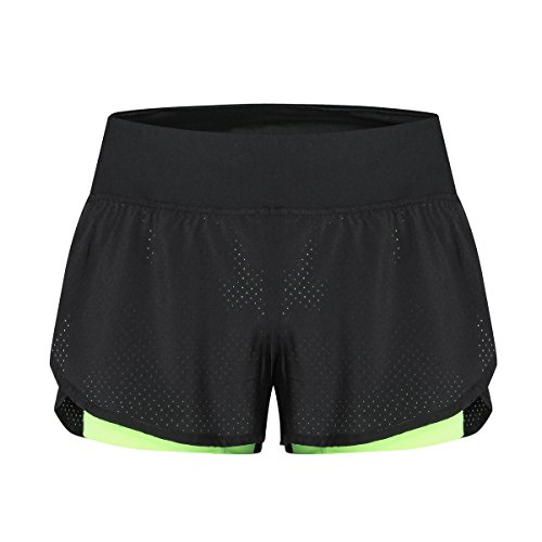 CHKOKKO Women's Polyester Shorts (Green, Large)