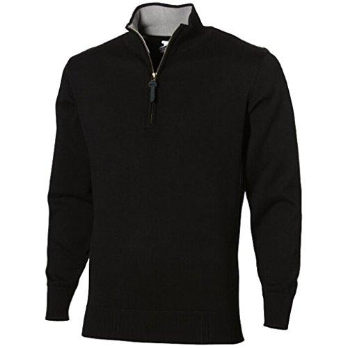 SLAZENGER Pullover Zip Quarter (XXL, solido nero/grigio heather)