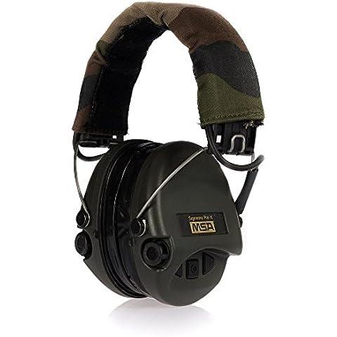 EL MSA Sordin Supremo Pro X - Activo Protección auditiva profesional, Incl. super comodos Almohadilla de gel / Modelo: Cinta Camo u. verde Tazas / entrada