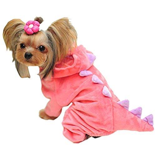 UHeng Funny Pet Hund Katze Hoodie Coat Dinosaurier Shark Backen Halloween Cosplay Kostüm, L, Rose (Halloween Hund Funnies)