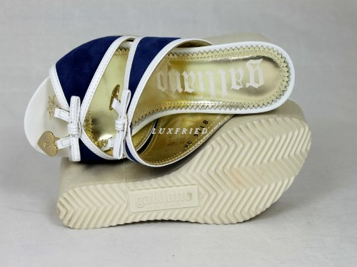 John Galliano , Semelle compensée femme Bleu - blue-white-beige