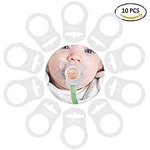 TankerStreet 10 Piezas Chupete Bebé de Silicona Blanda Cadenas Adaptador de Porta Anillo Estilo de Botón