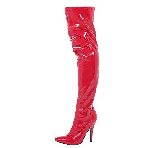 ByPublicDemand Lucille Femme Talons hauts talon aiguille cuissarde Rouge