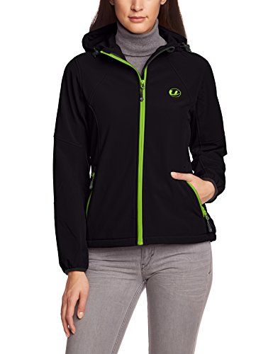 Ultrasport Damen-Funktions-Outdoorjacke Softshell Estelle mit Ultraflow 5.000, schwarz/grün, M