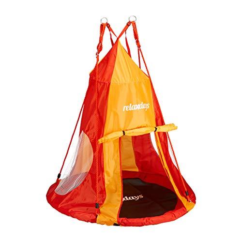 Relaxdays Zelt für Nestschaukel, Bezug für Schaukelsitz bis 110cm, Rundschaukel Zubehör, Garten Schaukelnest, rot-orange