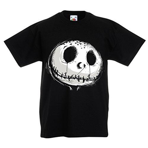 Kinder T-Shirt beängstigend Schädel Gesicht - Alptraum - Halloween-Party-Kleidung (7-8 years Schwarz Mehrfarben) (She Ra Kostüm Für Kinder)