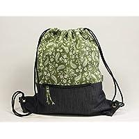 Mochila de cuerdas en tela color verde estampado cachemire con bolsillo exterior con cremallera