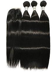 """BLISSHAIR Cheveux humains mèches tissage naturelles rémy perruques 14"""" 14"""" 14"""" + 10"""" lace closure"""