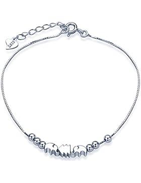 Unendlich U Niedlich Elefanten Kiefer Pinie Beads Damen Charm-Armband 925 Sterling Silber Armkette Verstellbar...