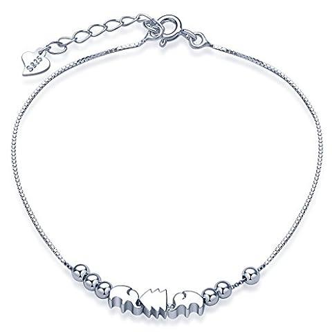 Unendlich U Niedlich Elefanten Kiefer Pinie Beads Damen Charm-Armband 925 Sterling Silber Armkette Verstellbar Armkettchen Armreif, Silber