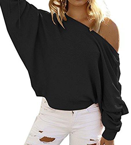 BLACKMYTH Femme Une épaule Chandail Manches Chauve-souris Sweater Lace Up Tops One Shoulder Pull Noir