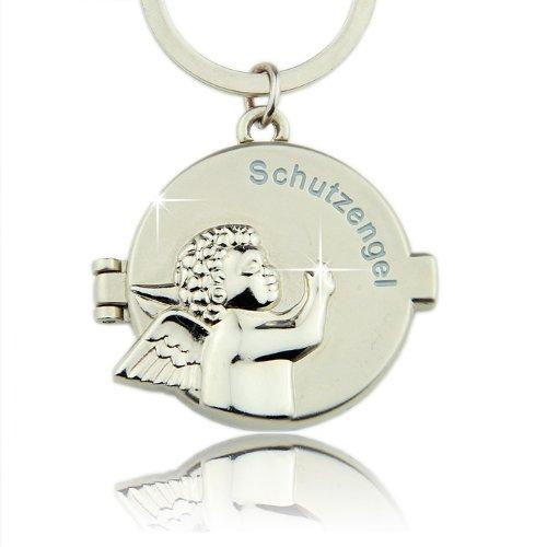 Geschenkbox Aufklappbarer Schlüssel-Anhänger Schutzengel mit Schriftzug & Schutzengelrelief vorne und Magnetverschluß - innen mit Spiegel & Fotorahmen