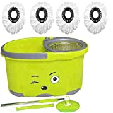 #8: ALLWIN's Mop Bucket Magic Spin Mop Bucket Double Drive Hand Pressure with 4 Microfiber Mop Head & 4 Color May Vary (with Soap Dispenser)
