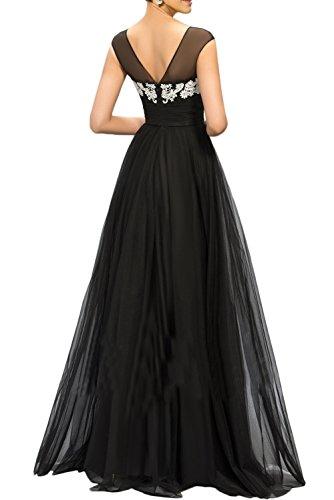 Gorgeous Bride Romantisch Rundkragen Abendmode Lang A-Linie Satin Tüll Spitze Abendkleider Lang Festkleider Ballkleider Grape