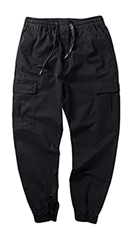 Fulok Mens Retro Multi Pockets Thin Elastic Wasit Solid Cargo Pant Small Black