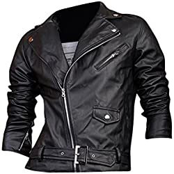 Jeansian Top De Cuero De Abrigos De Moda Para Hombre Chaqueta Mens Fashion Jacket Outerwear Leather Top 8927 Black S