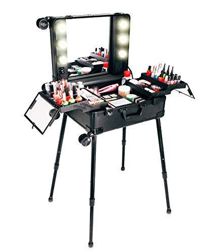 Trucco Trolley Beauty Case Valigia da viaggio Studio Specchio grande illuminato Tavolo da trucco Pieghevole artista cosmetico con 6 lampadine + 4 ruote 360   °, Nero