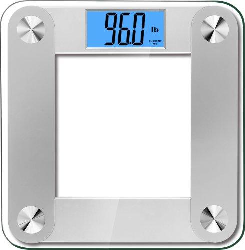 """BalanceFrom - Báscula de Baño de Alta Precisión MemoryTrack Plus digital con """"Smart Step-On"""" y Tecnología MemoryTrack, Pantalla retroiluminada extragrande de doble color - Color Plata"""