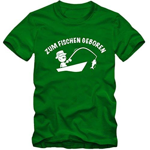 Kinder unisex T-Shirt Zum Fischen Geboren Angeln Zander 02 , Farbe:grün;Größe:9-11 Jahre (134-146cm) (Angeln Zander T-shirt)