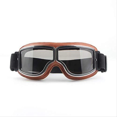 CHENFOO Spot Harley Brille Retro Cross-Country-Brille Motorrad Winddichte Brille Reiten Outdoor-Schutzbrille Braunes Leder + Graue Folie