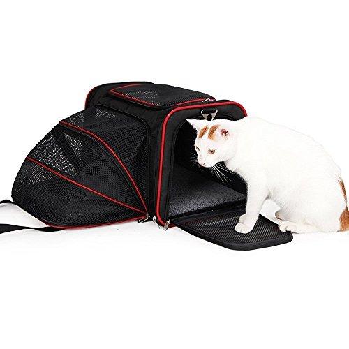 lenezaro stabile erweiterbar klappbar waschbar Hund/Katze Travel Carrier Box mit Fleece Pad, verstellbarer Schulterriemen (46* 28* 28cm), schwarz