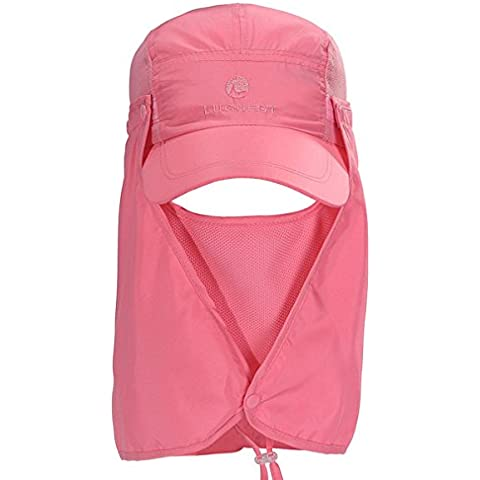 TININNA Sombrero,La moda de verano al aire libre de Protección Solar Cap cuello de la cara de la aleta de sombrero de ala ancha- Rosa caliente