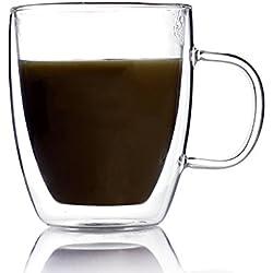 Unihom–RAM a doppia parete in vetro tazza da caffè 400ml–regalo fatto a mano, Vetro, Clear, 1 Cup