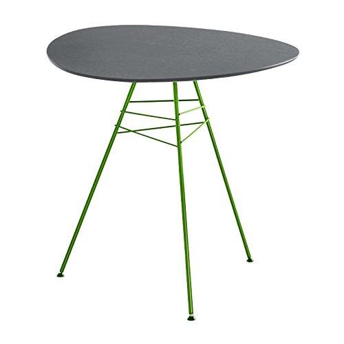Leaf Gartentisch dreieckig H74, grau Gestell matt grün lackiert Tischplatte aus MDF hydrophob H01 Altes Modell