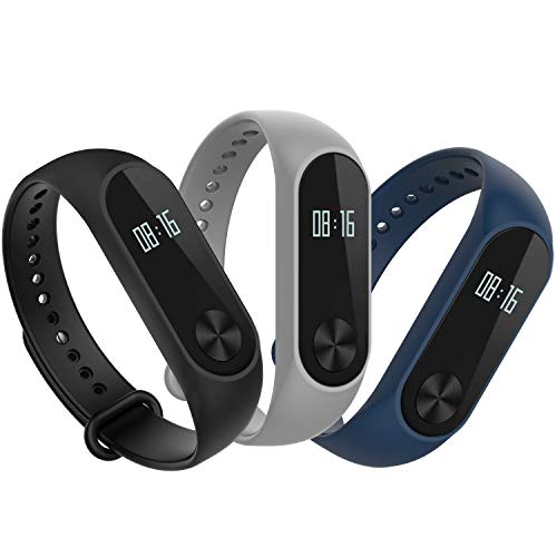 Hianjoo Bracelet Compatible pour Xiaomi Mi Band 2, [Lot de 3] Remplacement Sangle Bracelet Accessoires en Silicone de Bracelet Compatible pour Xiaomi Mi Band 2 - Gris, Noir, Marine Bleu