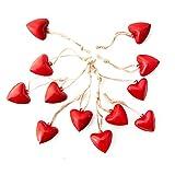 12 Stück kleine Herzanhänger aus Metall in Rot 3,5 cm - ohne Schnur - liebevolle Herzen Anhänger aus Blech zum Aufhängen - Geschenkanhänger zum Valentinstag Muttertag Hochzeit als Dekoration