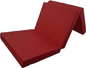 Power-Preise24 Klappmatratze in Dunkelrot - Komfortable Faltmatratze - Gästematratze mit Microfaserbezug - Bequemes Notbett/Gästebett