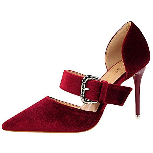 Oasap Women's Pointed Toe Buckle High Heels Suede Sandals Burgundy