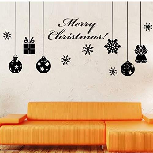 Frohe Weihnachten Briefe Schneeflocke Wand Muster Aufkleber Wohnzimmer Art Deco Vinyl Wand Dekor Urlaub Fenster Wandbild74x56cm -