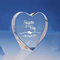 Personalised Wedding Day Gift For Bride and Groom/Engraved Crystal Heart with Satin-Lined Box/Wedding Keepsake Gift/Engagement Gift for Couples