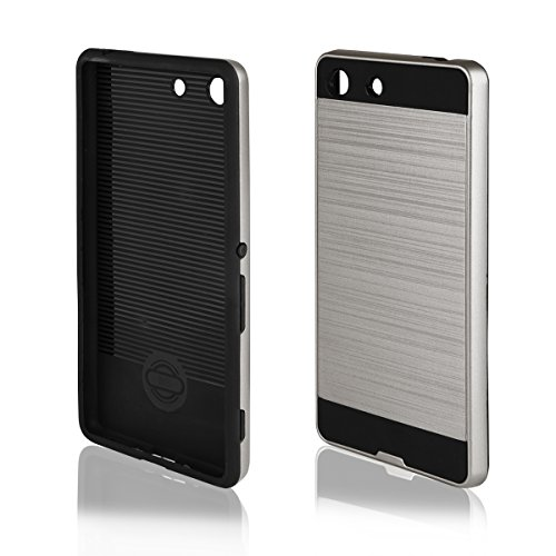 EGO® Hard Case Schutz Hülle für Sony Xperia M5, Silber Metallic Effect Aluminium Brushed Handy Cover Schale Bumper Etui Top-Qualität Silber