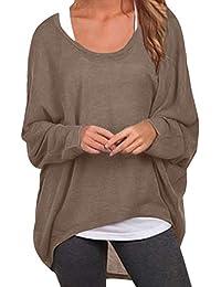 ZANZEA Damen Lose Asymmetrisch Jumper Sweatshirt Pullover Bluse Oberteile  Oversize Tops 7e7a5e9863