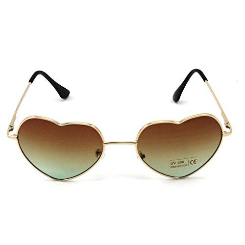 DDU(TM) 1 Stück Braun Damen Metall Sonnenbrillen Nettes Herz-Form-Design Objektiv Outdoor Brillen