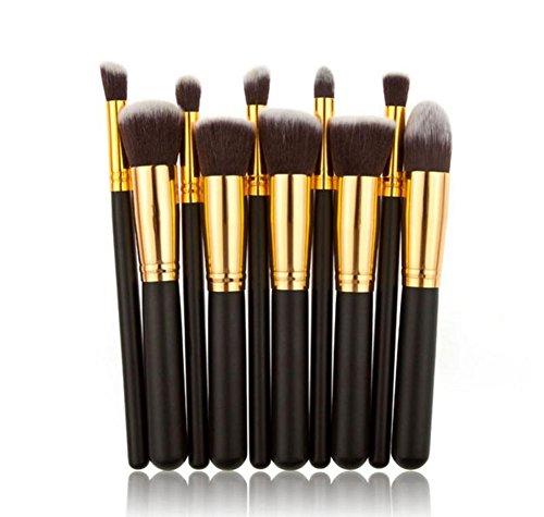 Daorier Brosse de Maquillage/Outils de Maquillage/Cosmétique Ensembles Eyebrow Shadow Blush Fond De Teint Anti-Cerne Noir 10 Pcs