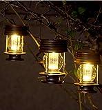 2 faroles colgantes con energía solar para decoración de mesa, luces LED para exteriores, estacas de jardín, para árbol, pabellón, patio (Warm Light)