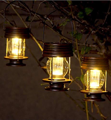 2 faroles colgantes con energía solar para decoración de mesa, luces LED para exteriores, estacas de jardín, para árbol, pabellón, patio