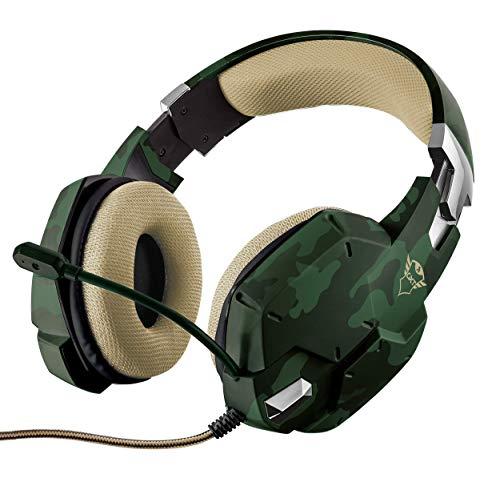 Trust GXT 322C Cuffie da Gioco Stereo Imbottite in Maglia a Rete, Microfono Flessibile e Bassi Potenti, Verde Camuffamento